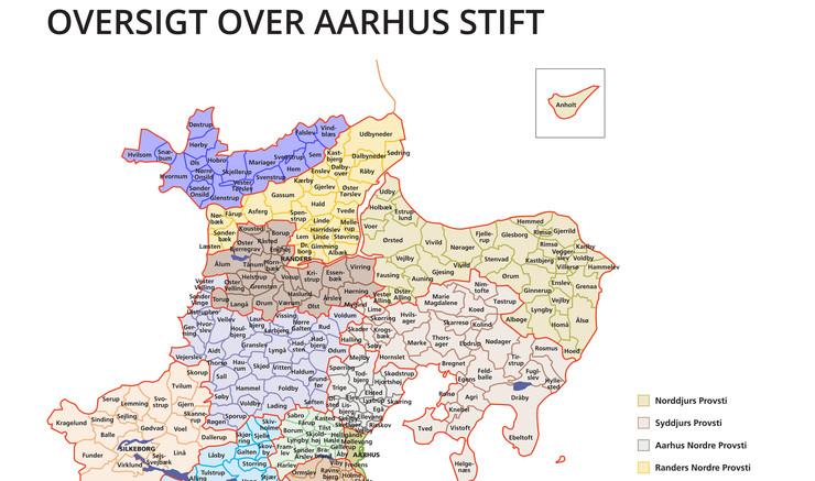 Kort over Aarhus Stift, provstier, sogne