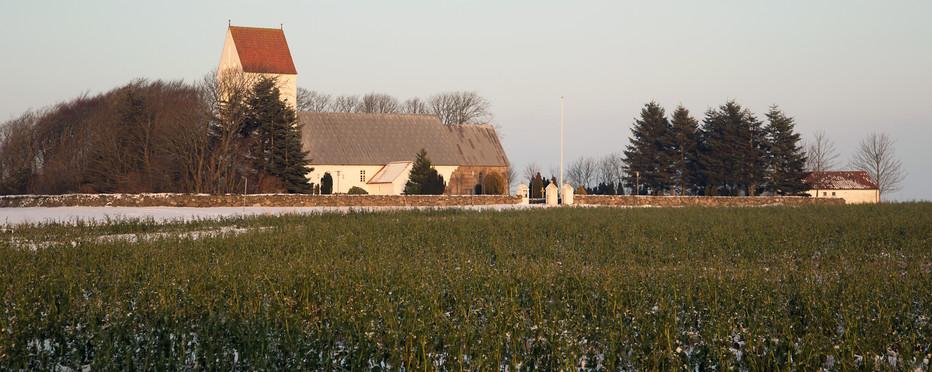 Mark med kirke i baggrunden