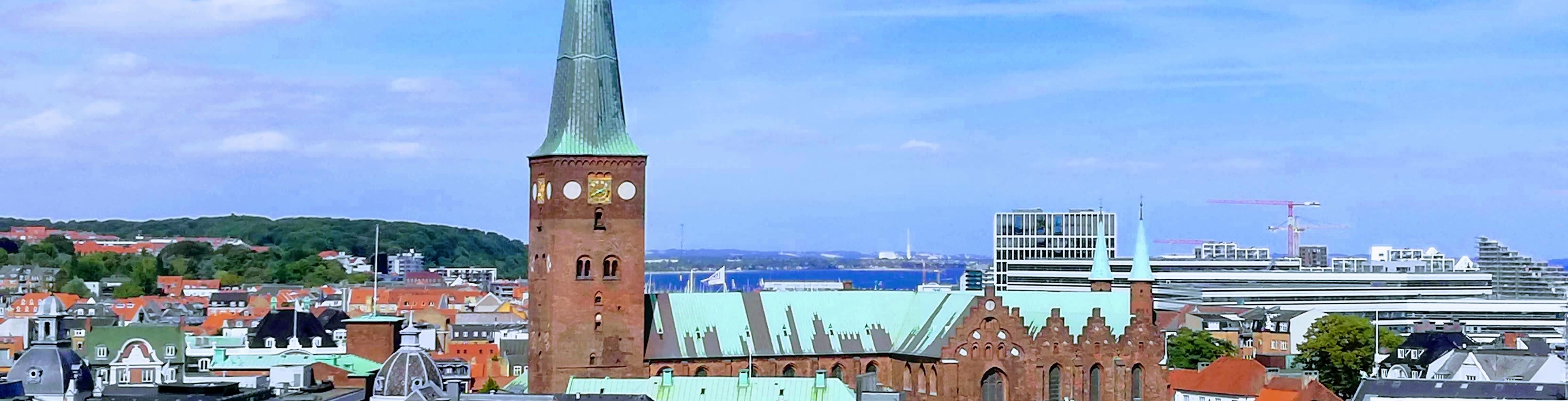 Kik ind over Aarhus med domkirken i baggrunden